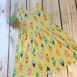 🌴H&M parakeet print yellow dress size 6-8 EUC